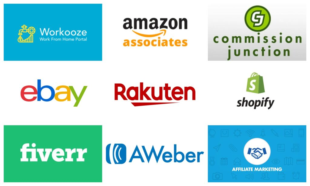 Collage logos of affiliate programs marketing