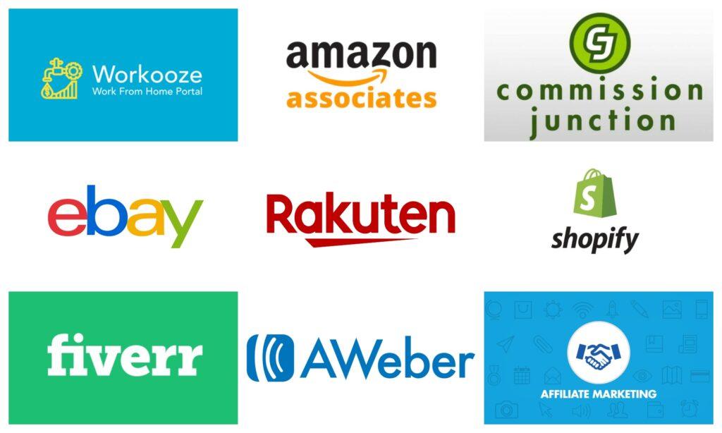 Collage logos of affiliate programs marketing