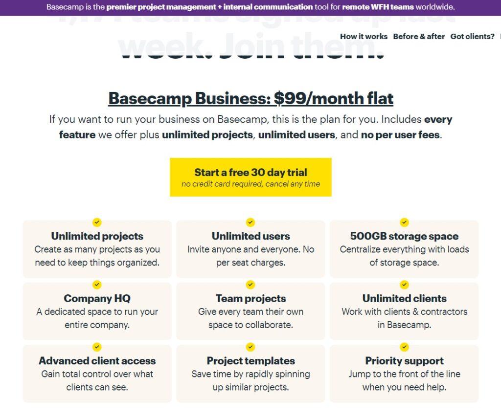 Screenshot of Basecamp productivity app