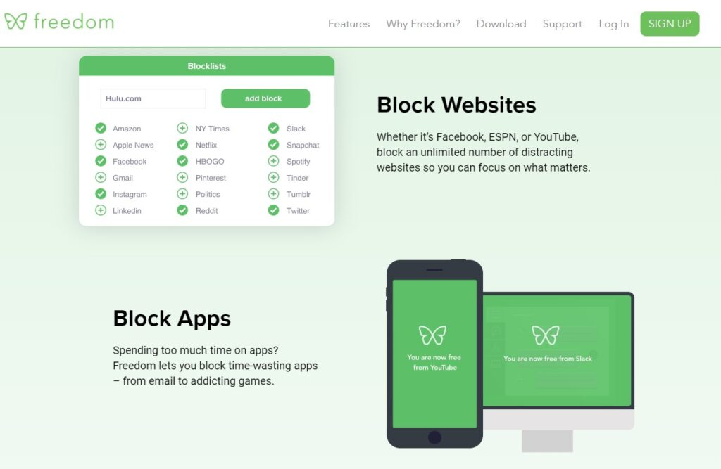 Screenshot of Freedom app