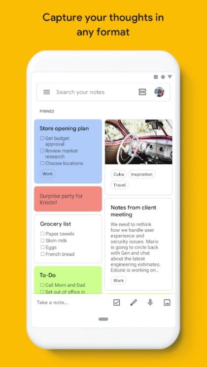 Screenshot of Google Keep productivity app