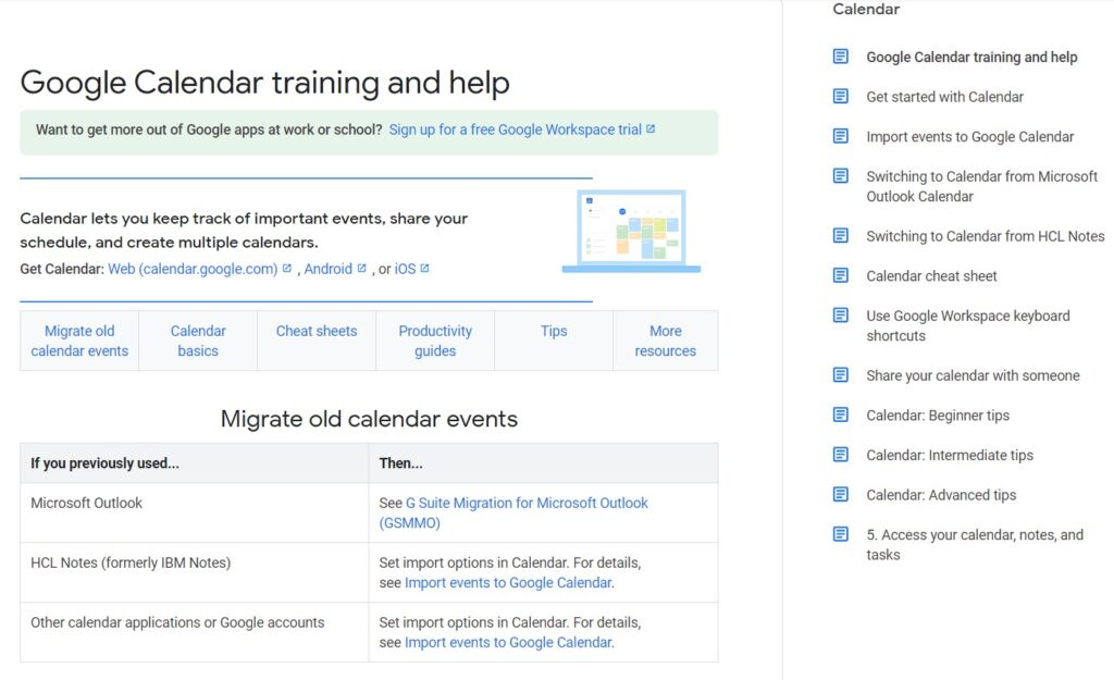 Screenshot of Google Calendar productivity app