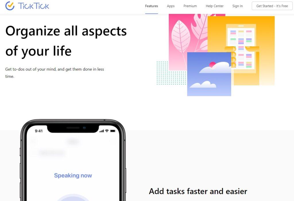 Tick tick productivity app screenshot
