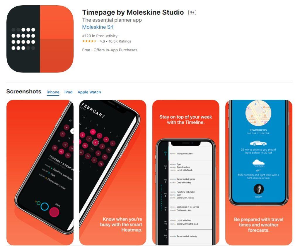 Screenshot of Timepage productivity app