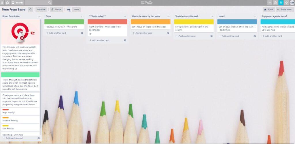 Screenshot of Trello productivity app