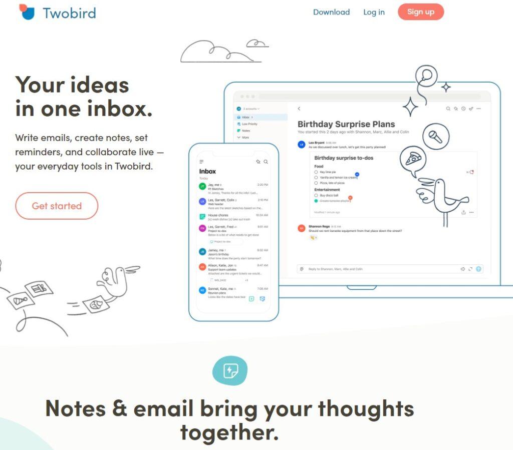 Twobird productivity app screenshot