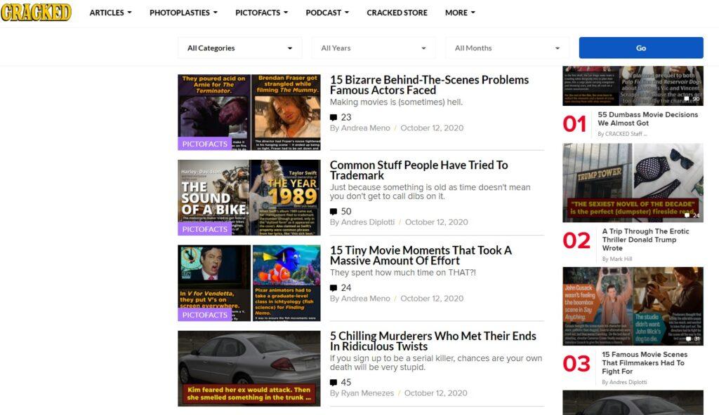waste time online on Cracked website
