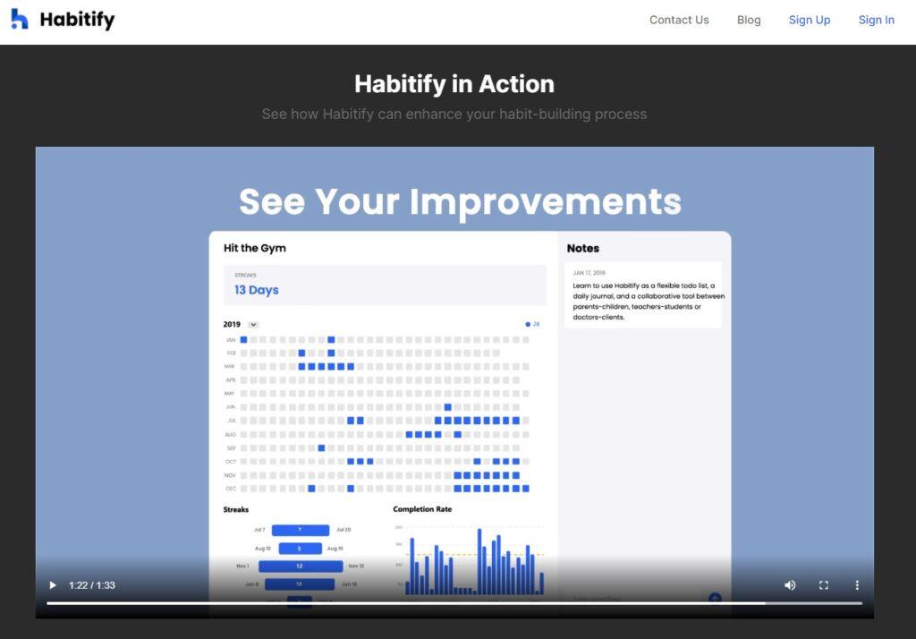 Screenshot of Habitify productivity app