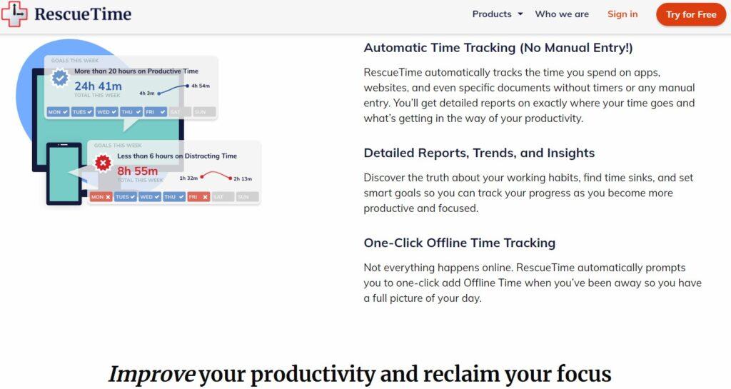 Screenshot of RescueTime productivity app