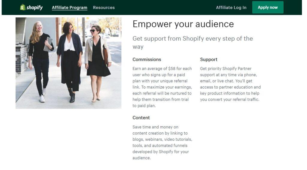screenshot of affiliate marketing sites - shopify