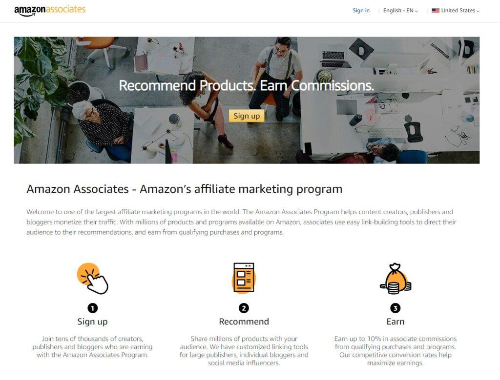screenshot of Amazon Associates affiliate marketing program