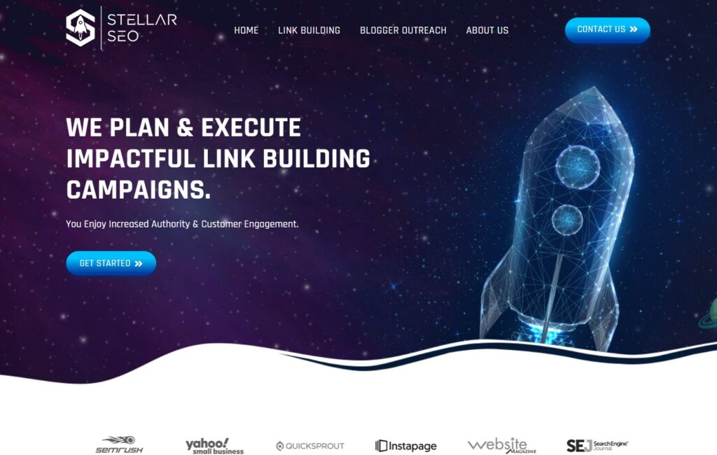 screenshot of Stellar SEO link building service