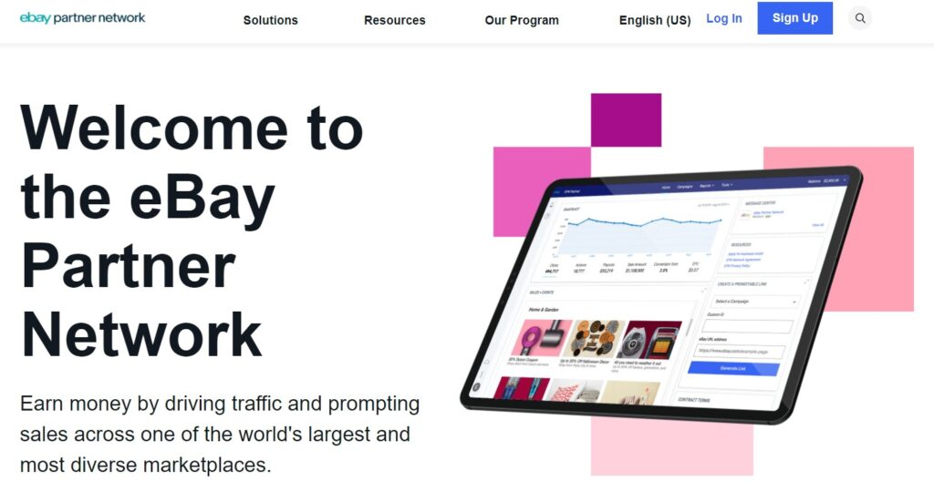 screenshot eBay Partners