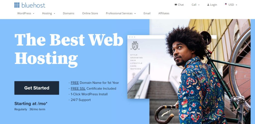 Bluehost web hosting sevice
