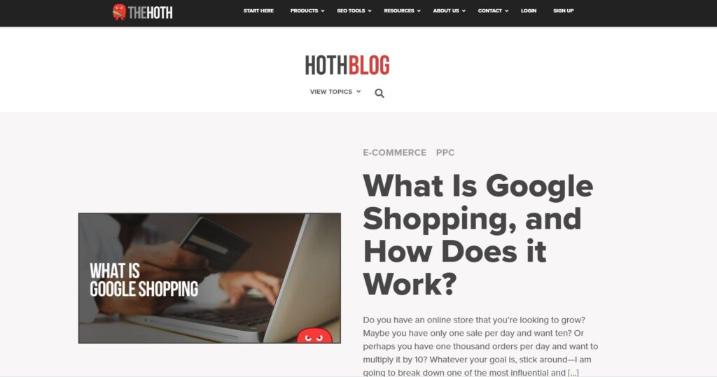 screenshot Hoth Blogger SEO content writing services