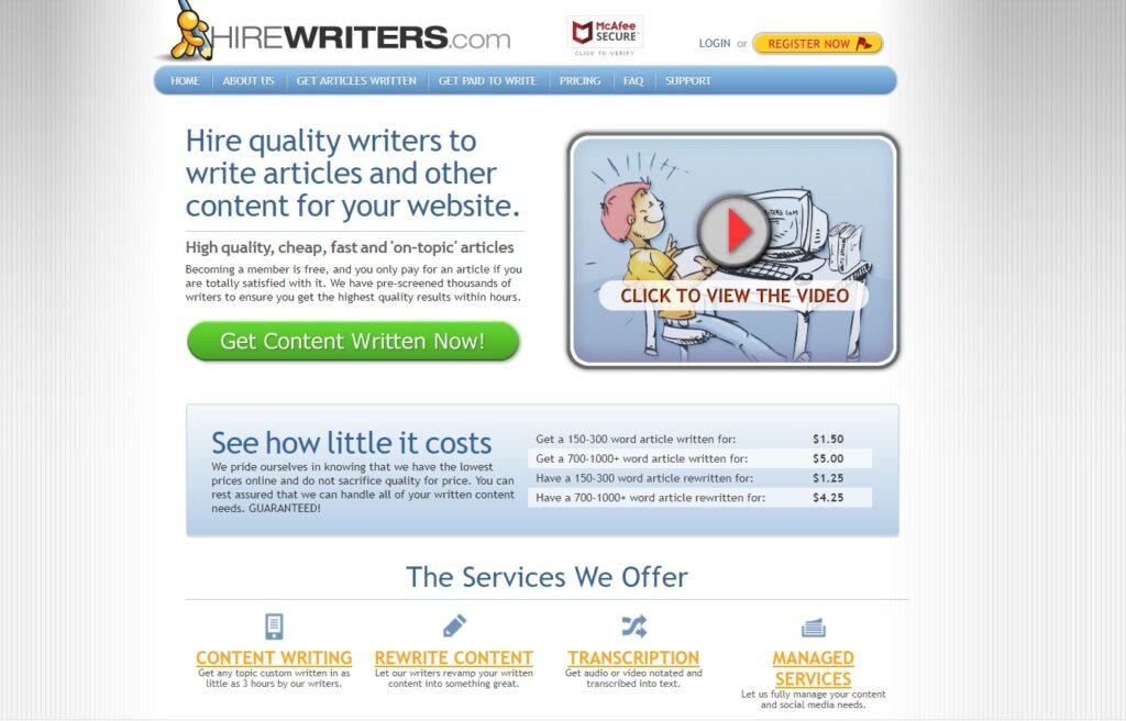 screenshot Hire Writers