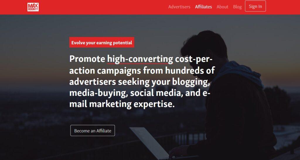 Affiliate marketing sites: MaxBounty