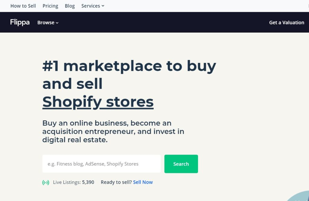 screenshot of flippa home page