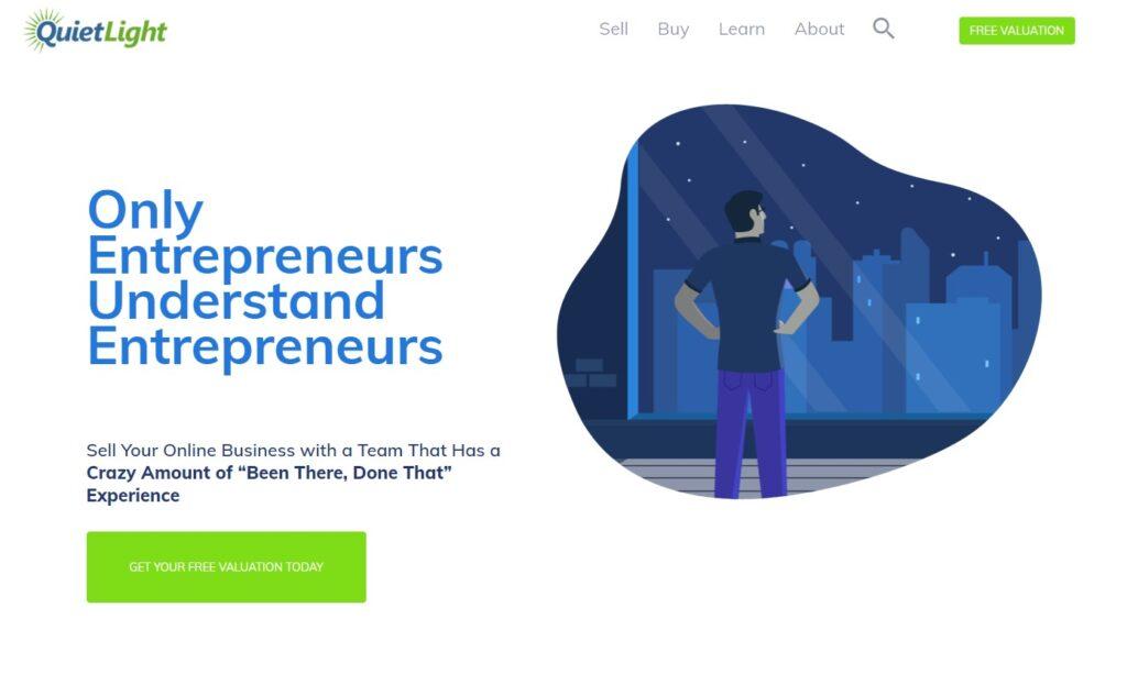 screenshot of Quiet light brokerage home page