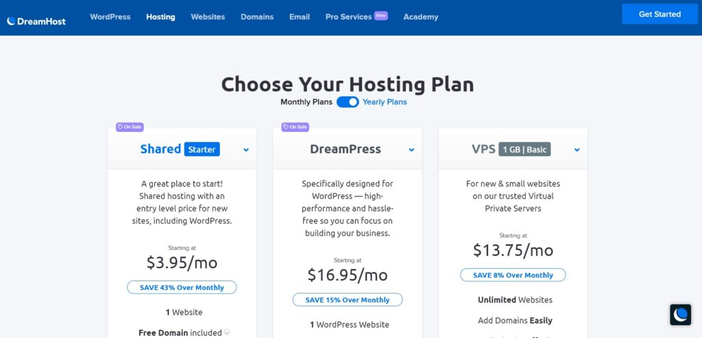 Dreamhost web hosting service