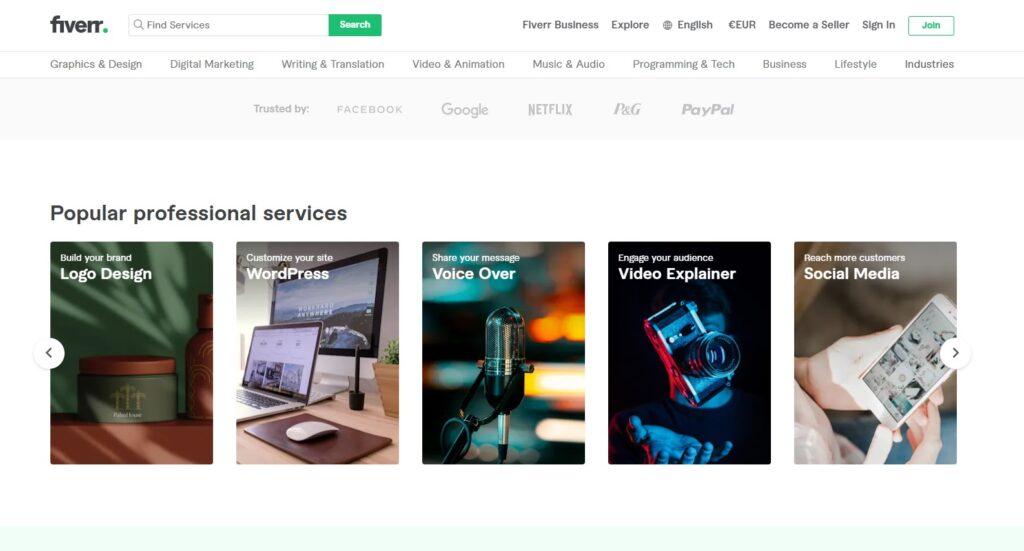 Fiverr main page screenshot