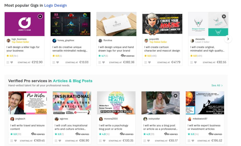 Screenshot Fiverr of posted gigs