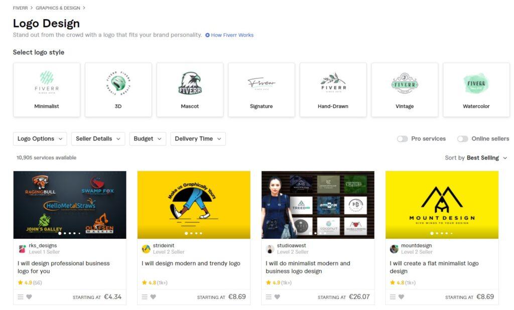 screenshot fiverr logo design gigs