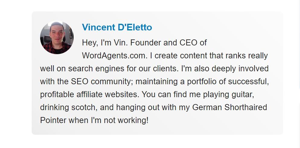 screenshot of wordagents' founder bio.