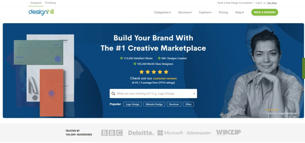 screenshot Designhill freelance website