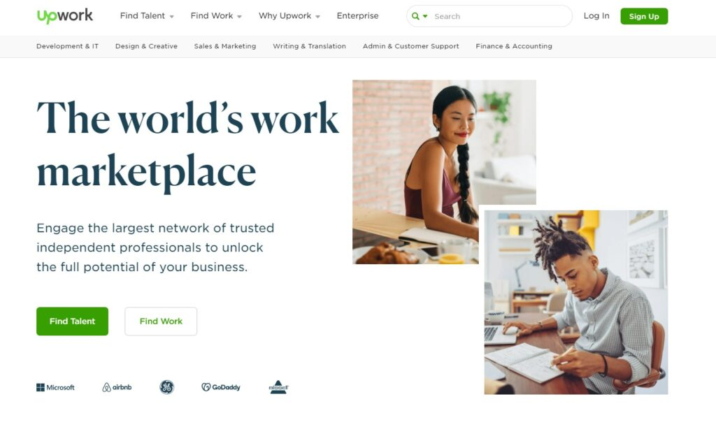 screenshot upwork freelance website