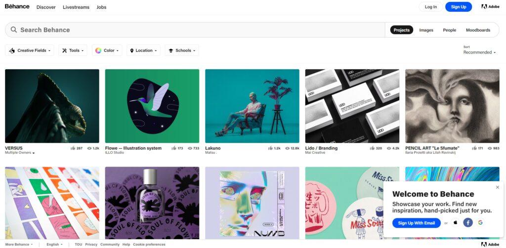 Screenshot behance freelance website