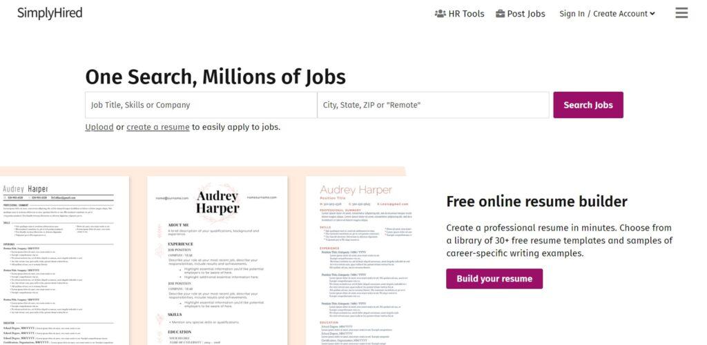 screenshot SimplyHired freelance website