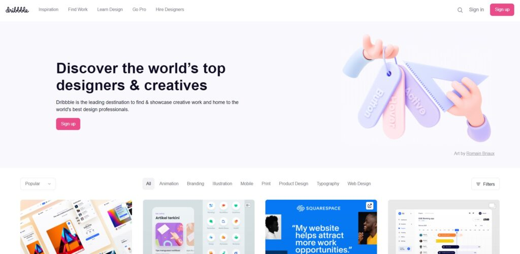 screenshot Dribbble freelance website