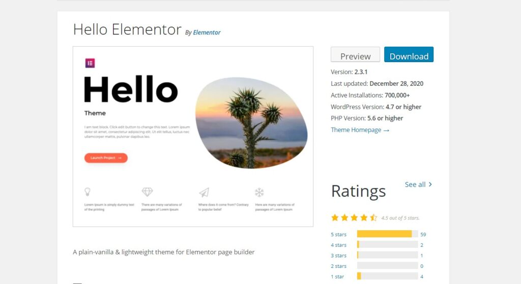 screenshot of hello wordpress theme