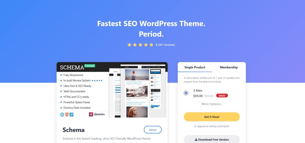 Schema is among the fastest wordpress themes.