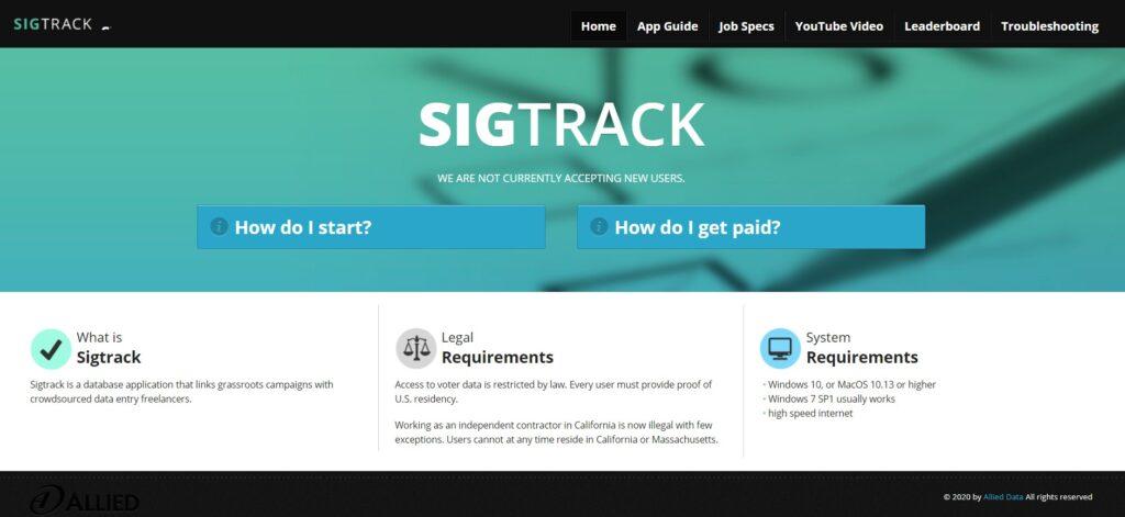 screenshot SigTrack