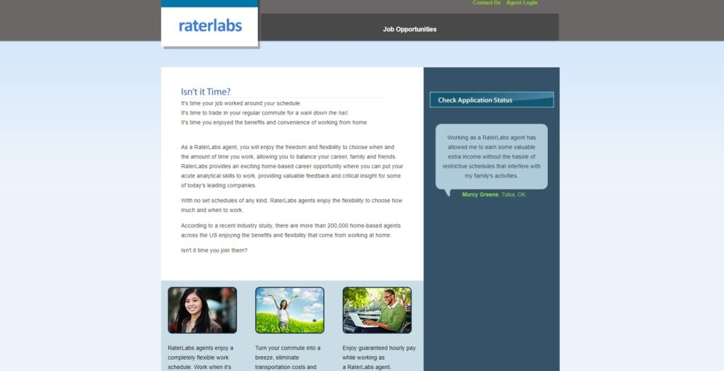 screenshot raterlabs home page