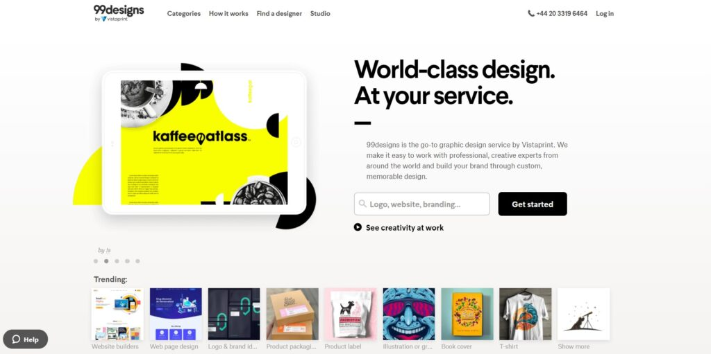 99 Designs home page